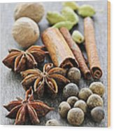 Assorted Spices Wood Print by Elena Elisseeva