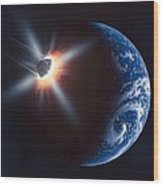 Asteroid Impacting The Earth, Artwork Wood Print by Richard Bizley