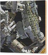 Astronauts Working On The International Wood Print