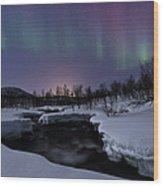 Aurora Borealis Over Blafjellelva River Wood Print