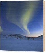 Aurora Borealis Over Skittendalen Wood Print