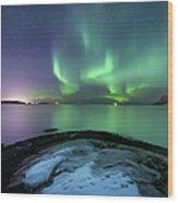 Aurora Borealis Over Vagsfjorden Wood Print