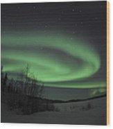 Aurora Borealis Over Vee Lake Wood Print