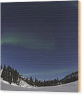 Aurora Over Vee Lake, Yellowknife Wood Print