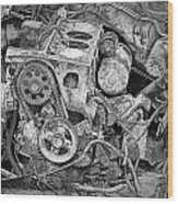 Auto Engine Block From A Wrecked Car Wood Print