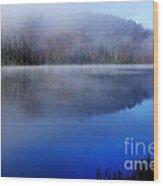 Autumn Morning Mist On Lake Wood Print