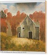 Autumn Rustic Barns Wood Print