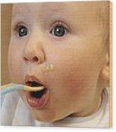 Baby Boy Being Fed Wood Print by Tek Image
