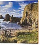 Ballintoy, County Antrim, Ireland Beach Wood Print