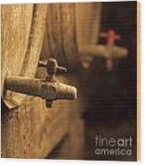 Barrels Of Wine In A Wine Cellar. France Wood Print by Bernard Jaubert