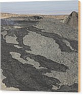 Basaltic Lava Flow From Pit Crater Wood Print