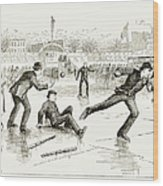 Baseball On Ice, 1884 Wood Print
