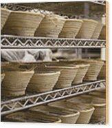 Baskets At A Bakery Wood Print