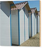 Beach Cabins In Venice, Italy Wood Print