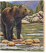 Bear Catch Of The Day Wood Print