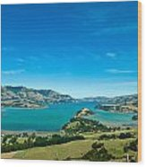 Beautiful Summer Day View Into The Akaroa Harbour Wood Print