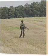Belgian Paratroopers Proceeding Wood Print by Luc De Jaeger
