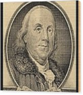 Ben Franklin In Sepia Wood Print