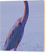 Big Blue Heron At Lake Side Wood Print
