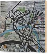 Bike 2 On Map Wood Print
