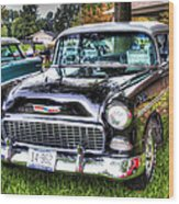 Black And White Chevy Wood Print