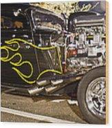 Black Hot Rod Big Engine Wood Print
