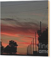 Blazing Red Country Road Sunset Wood Print