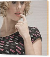 Blond Lady Wood Print