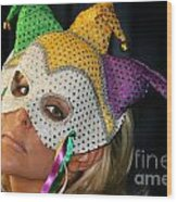 Blond Woman With Mask Wood Print