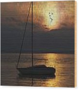 Boat In Sunset Wood Print