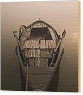 Boat In The Water, Varanasi, India Wood Print