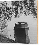 Boat On Foggy Rhine Wood Print