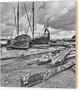 Boats And Logs At Pin Mill  Wood Print