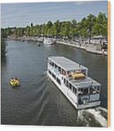 Boats On River Dee Wood Print