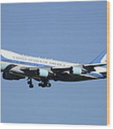 Boeing Vc-25a 82-8000 Air Force One Phoenix-mesa Gateway Airport January 25 2012 Wood Print