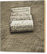 Bordeaux Wine Corks Wood Print