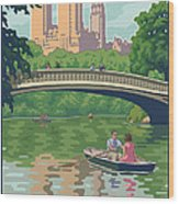 Bow Bridge In Central Park Wood Print