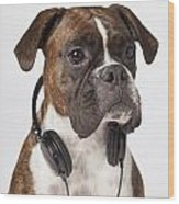 Boxer Dog With Headphones Wood Print