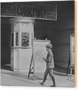 Boy In Front Of A Movie Theater Showing Wood Print