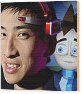 Brainwave-reading Headset Wood Print by Volker Steger