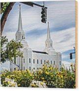 Brigham City Temple Street Lights Wood Print