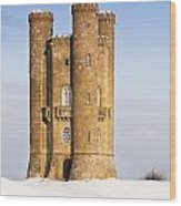 Broadway Tower In Winter Snow Wood Print