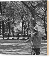 Bubble Boy Of Central Park In Black And White Wood Print