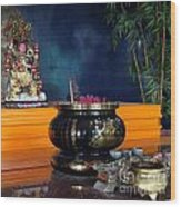 Buddhist Altar Wood Print by Yali Shi
