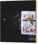 Bullet Hitting A Playing Card Wood Print
