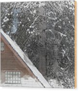 Cabin In The Winter Wood Print