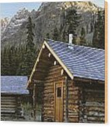 Cabin In Yoho National Park, Lake Wood Print