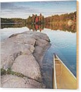 Canoe At A Rocky Shore Autumn Nature Scenery Wood Print