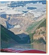 Canoes On Lake Louise Wood Print