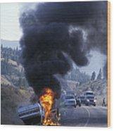 Car In Flames Wood Print by Kaj R. Svensson
